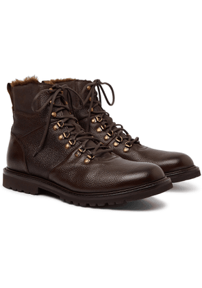 Cheaney - Ingleborough Shearling-lined Full-grain Leather Boots - Brown