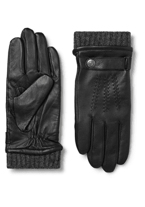 Dents - Henley Leather and Wool-Blend Tech Gloves - Men - Black
