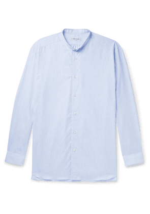 Charvet - Grandad-Collar Mélange Cotton-Poplin Shirt - Men - Blue