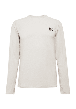 DISTRICT VISION - Tadasana Logo-embroidered Printed Mélange Stretch-jersey T-shirt - Neutrals