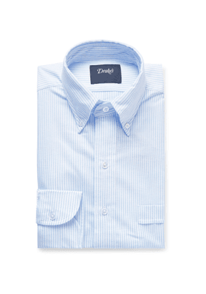 Drake's - Sky-blue Button-down Collar Striped Cotton Oxford Shirt - Blue