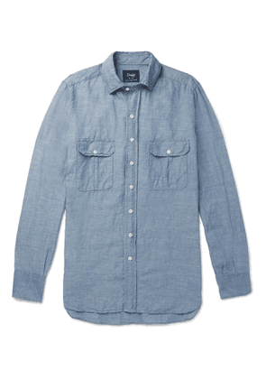 Drake's - Slim-fit Slub Linen And Cotton-blend Shirt - Blue
