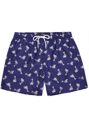 Drake's - Mid-length Printed Swim Shorts - Blue