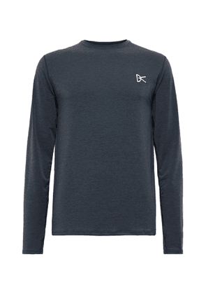 DISTRICT VISION - Tadasana Logo-embroidered Printed Mélange Stretch-jersey T-shirt - Blue