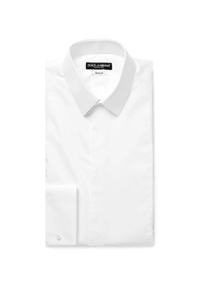 Dolce & Gabbana - White Slim-fit Bib-front Double-cuff Cotton-poplin Tuxedo Shirt - White