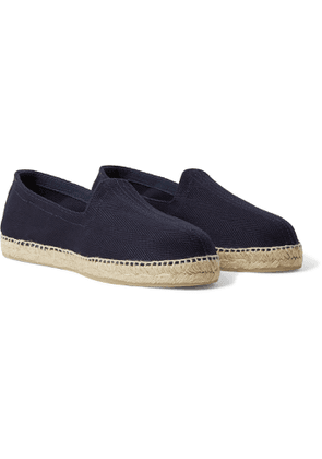 Drake's - Herringbone Cotton-canvas Espadrilles - Blue