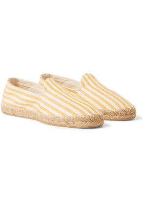 Drake's - Striped Cotton Oxford Espadrilles - Yellow
