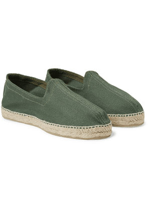 Drake's - Herringbone Cotton-canvas Espadrilles - Green
