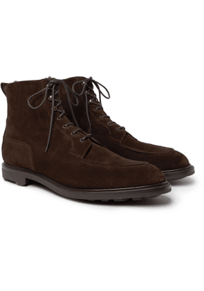 Edward Green - Cranleigh Shearling-lined Full-grain Leather Boots - Brown