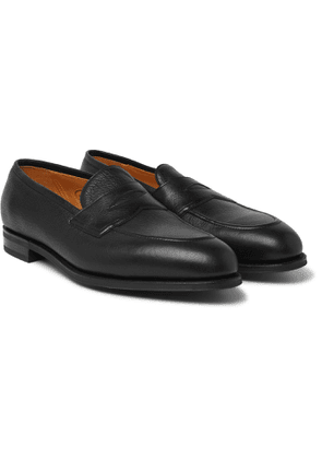 Edward Green - Piccadilly Leather-trimmed Suede Penny Loafers - Black