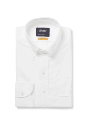 Drake's - Blue Button-down Collar Cotton Oxford Shirt - White