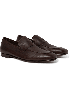 Dunhill - Textured-Leather Penny Loafers - Men - Brown