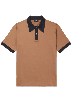 Dunhill - Contrast-Tipped Mercerised Cotton-Jersey Polo Shirt - Men - Brown