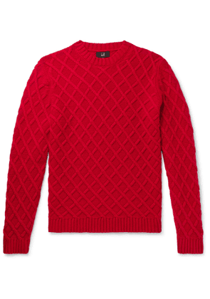 Dunhill - Slim-Fit Cable-Knit Cashmere Sweater - Men - Red