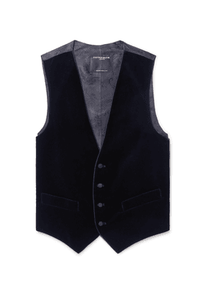 Favourbrook - Navy Grosgrain-Trimmed Cotton-Velvet Waistcoat - Men - Blue