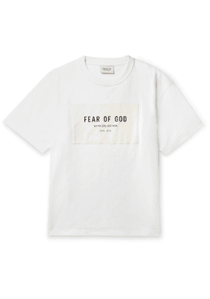 Fear of God - Oversized Logo-Appliquéd Mélange Cotton-Blend Jersey T-Shirt - Men - White