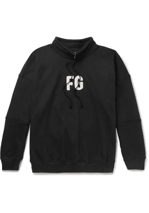 Fear of God - Oversized Logo-Appliquéd Loopback Cotton-Blend Jersey Sweatshirt - Men - Black