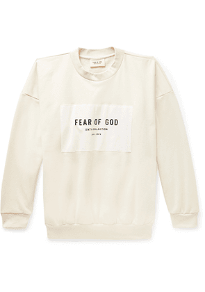 Fear of God - Oversized Logo-Appliquéd Loopback Cotton-Jersey Sweatshirt - Men - Neutrals