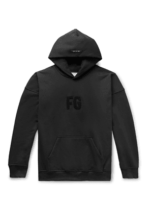 Fear of God - Oversized Logo-Appliquéd Loopback Cotton-Jersey Hoodie - Men - Black