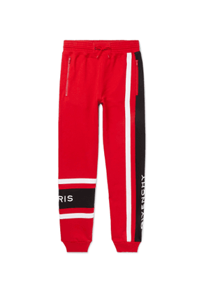 Givenchy - Tapered Logo-Embroidered Loopback Cotton-Jersey Sweatpants - Men - Red