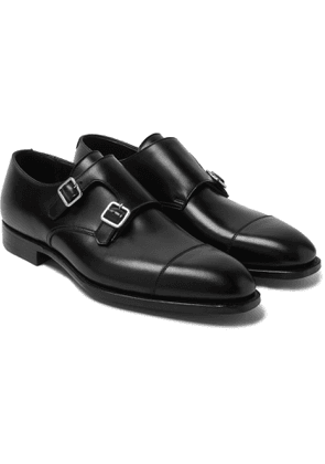 George Cleverley - Thomas Cap-toe Suede Monk-strap Shoes - Black