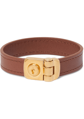Dunhill - Leather and Gold-Tone Bracelet - Men - Brown