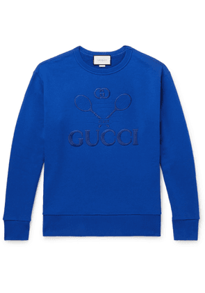 Gucci - Logo-Embroidered Loopback Cotton-Jersey Sweatshirt - Men - Blue