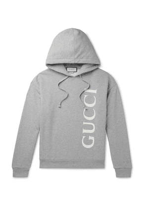 Gucci - Logo-Print Mélange Loopback Cotton-Jersey Hoodie - Men - Gray