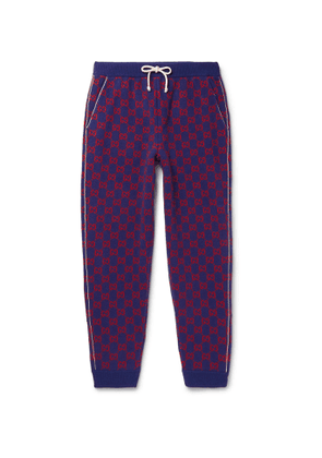 Gucci - Tapered Logo-Intarsia Wool and Cashmere-Blend Sweatpants - Men - Blue