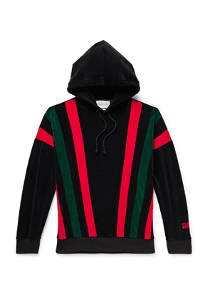 Gucci - Striped Cotton-Blend Chenille Hoodie - Men - Black