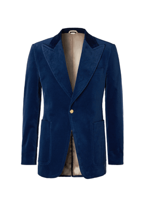 Gucci - Slim-Fit Cotton-Blend Velvet Blazer - Men - Blue