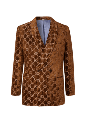Gucci - Brown Double-Breasted Logo-Embroidered Velvet Tuxedo Jacket - Men - Brown