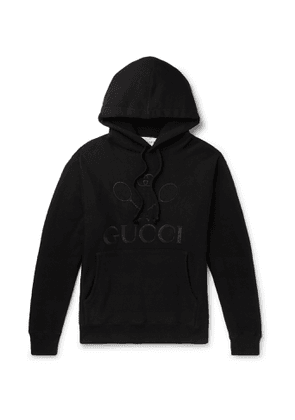 Gucci - Logo-Embroidered Loopback Cotton-Jersey Hoodie - Men - Black