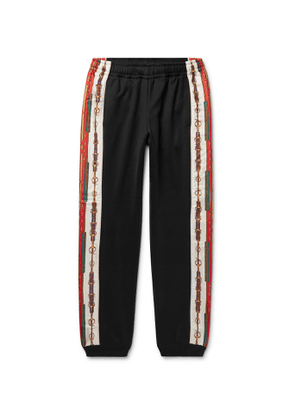 Gucci - Slim-Fit Tapered Printed Silk-Trimmed Jersey Track Pants - Men - Black