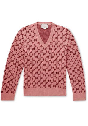 Gucci - Logo-jacquard Wool And Cashmere-blend Sweater - Pink
