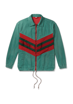 Gucci - Webbing-trimmed Shell And Washed-cotton Track Jacket - Green