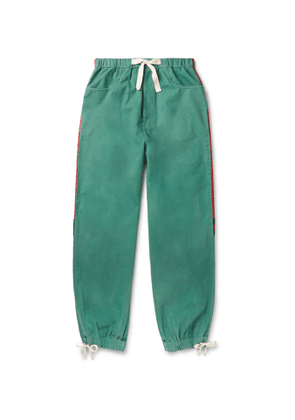 Gucci - Webbing-Trimmed Shell and Washed-Cotton Track Pants - Men - Green