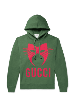 Gucci - Oversized Printed Loopback Cotton-Jersey Hoodie - Men - Green