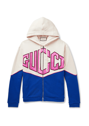 Gucci - Logo-Appliquéd Cotton-Jersey Zip-Up Hoodie - Men - Multi
