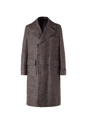 Rubinacci - Double-breasted Houndstooth Virgin Wool, Linen And Cashmere-blend Overcoat - Brown