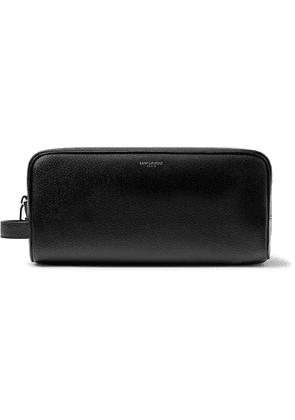 SAINT LAURENT - Pebble-Grain Leather Wash Bag - Men - Black