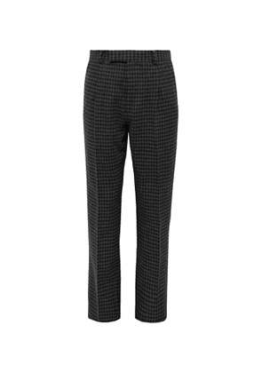 Wacko Maria - Grey Tapered Houndstooth Pleated Wool-blend Trousers - Gray