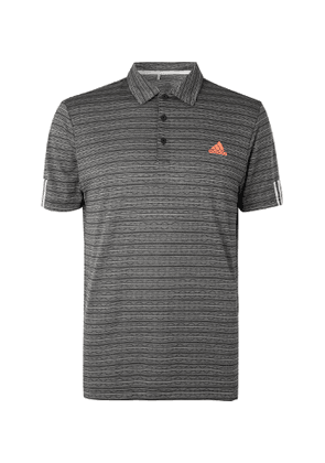 Adidas Golf - Striped Tech-jersey Golf Polo Shirt - Gray