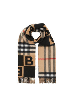 Burberry Check And B Motif Wool Cashmere Scarf