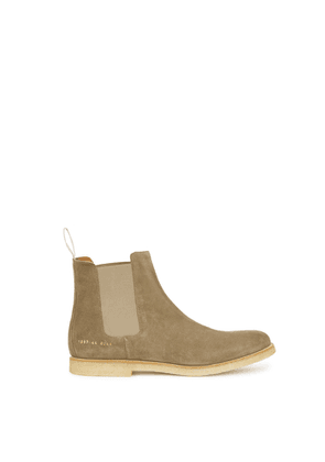 Common Projects Taupe Brushed Suede Chelsea Boots