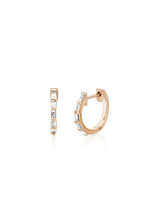 EF Collection 14ct Rose Gold And Diamond Baguette Huggie Earrings