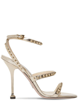 105mm Studded Metallic Leather Sandals