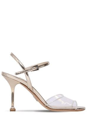 90mm Plexi & Metallic Leather Sandals