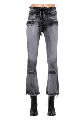 Lace-up Flared Cotton Denim Jeans