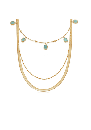 Gold Amazonite & Serpente Chain Set